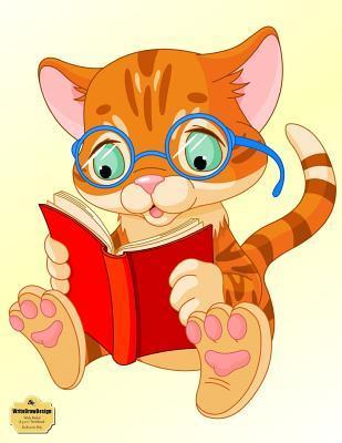 "WriteDrawDesign Wide Ruled 8.5 x 11"" Notebook, Bookworm Kitty"