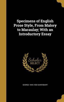 SPECIMENS OF ENGLISH PROSE STY