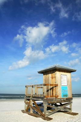 White Sand Beach With a Wooden Lifeguard Tower Journal