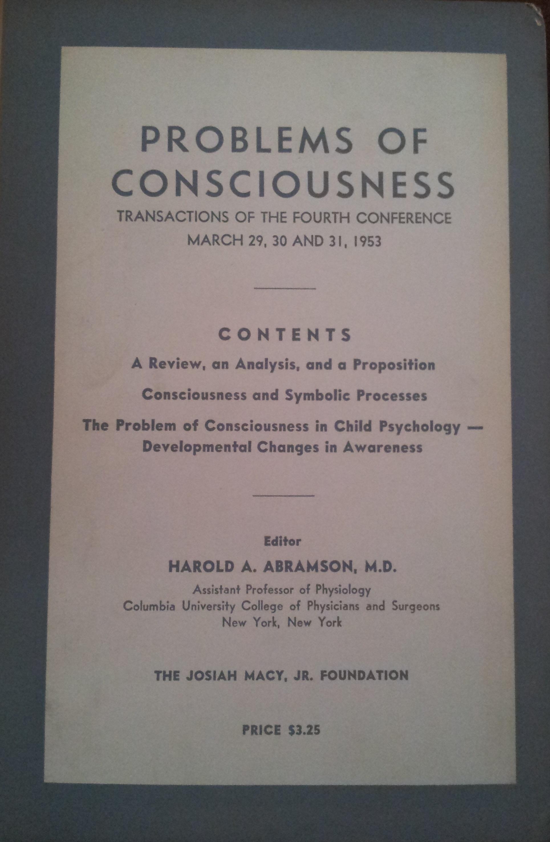 Problems of Consciousness