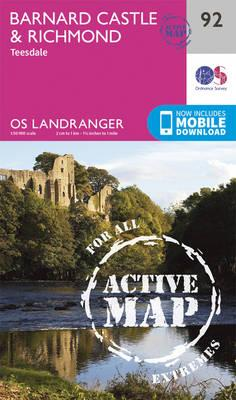 Landranger Active (92) Barnard Castle and surrounding area