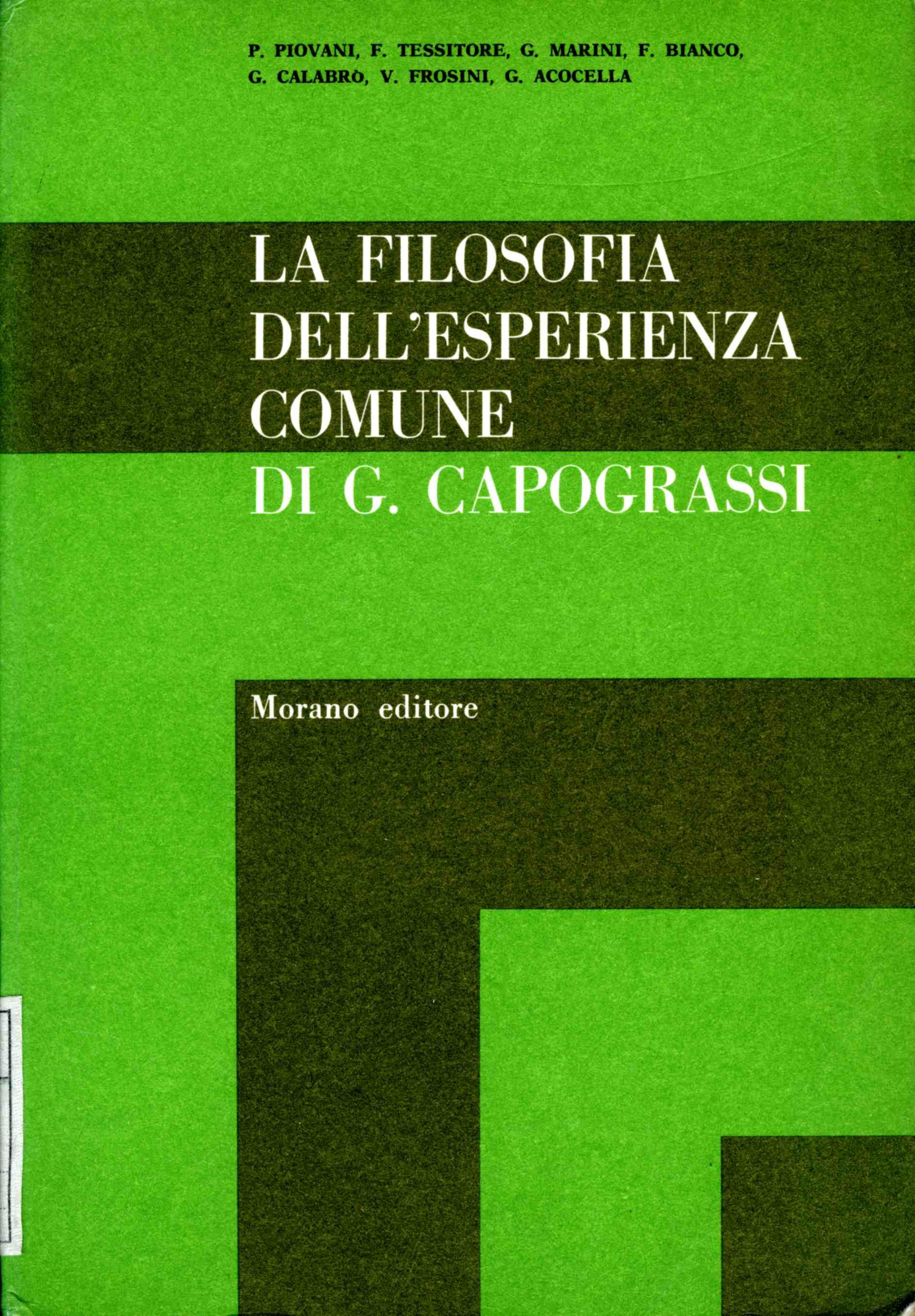 La filosofia dell'esperienza comune di Giuseppe Capograssi