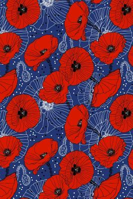 Bullet Journal Notebook Red Poppies On Navy