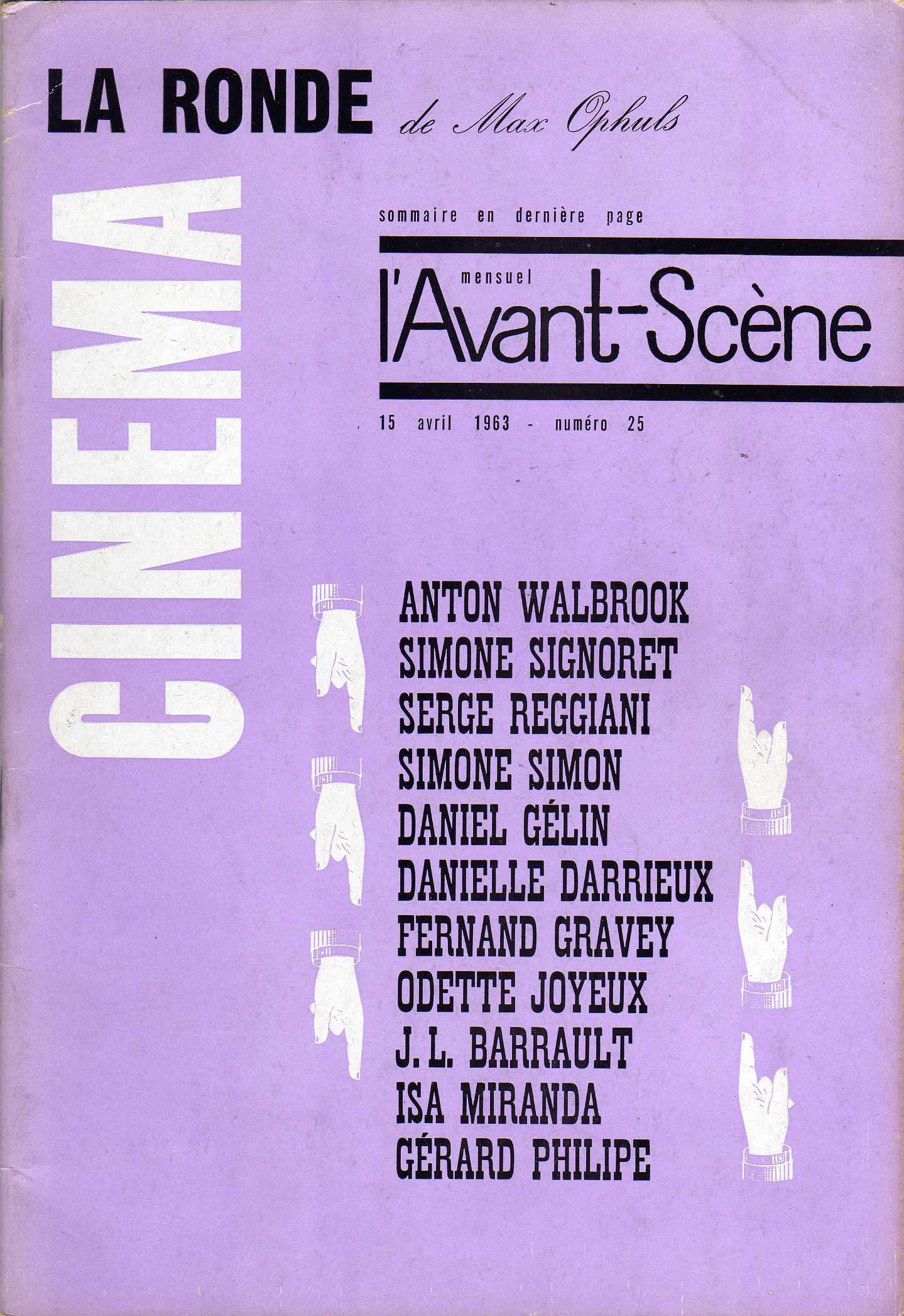 L'Avant-Scène du Cinèma n. 25