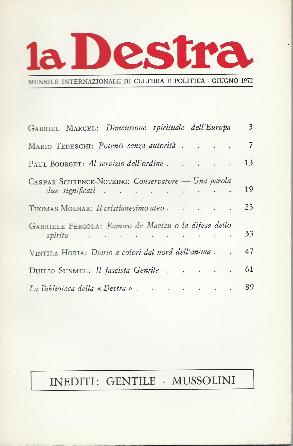 La Destra - Anno II n. 6