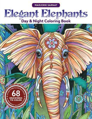 Elegant Elephants Day & Night Coloring Book