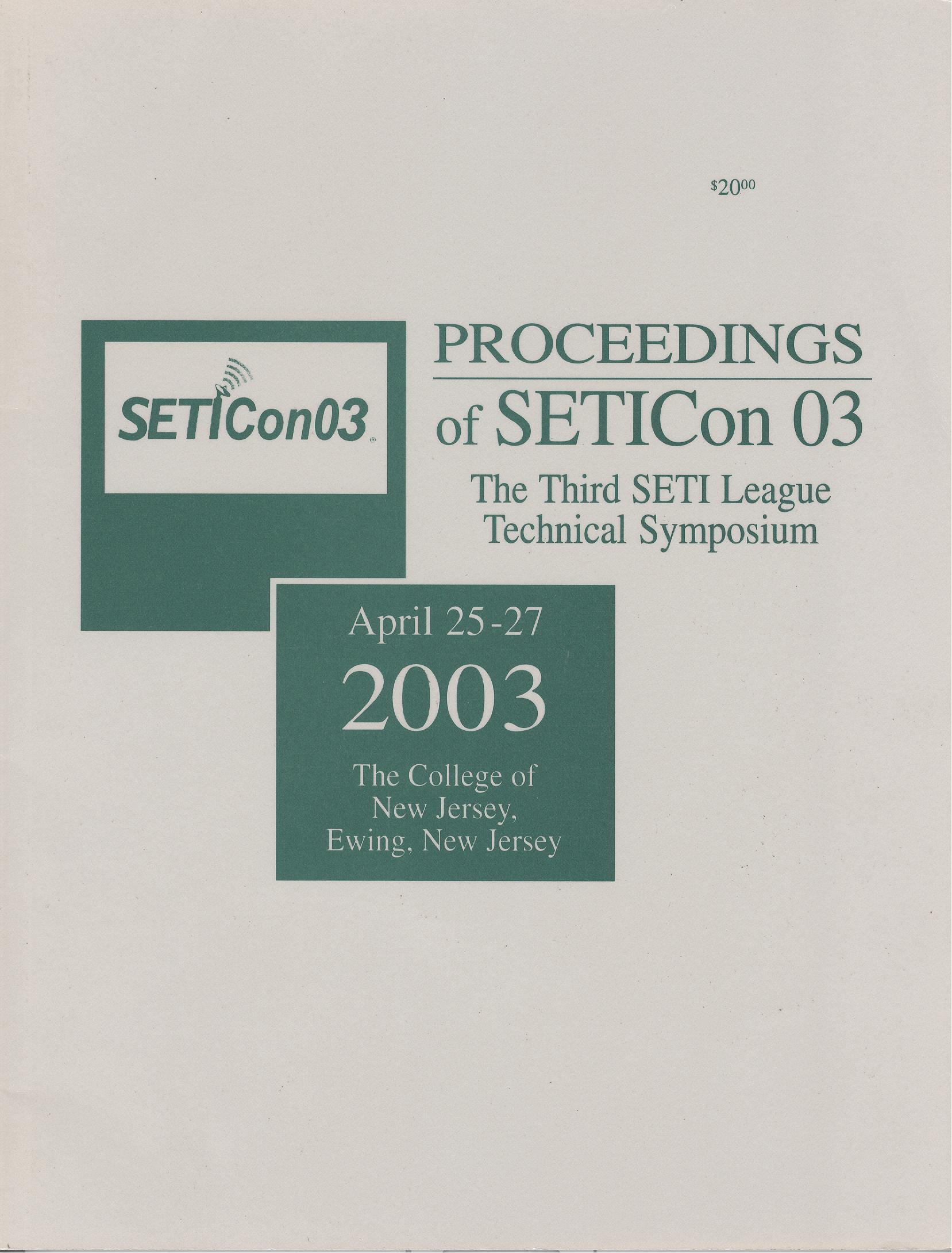 Proceedings of SETICon 03-The Third SETI League Tecnical Symposium 2003