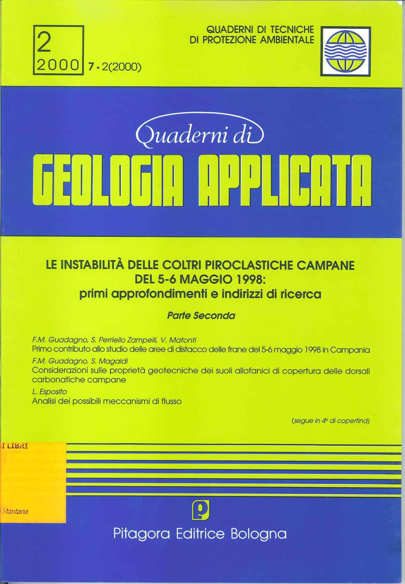 Problematiche idrogeologiche connesse con i fenomeni di instabilita delle coltri piroclastiche della dorsale di Pizzo d'Alvano, Campania