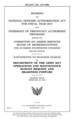 Hearing on National Defense Authorization Act for Fiscal Year 2017
