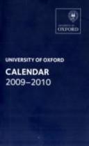 Oxford University Calendar 2009-2010