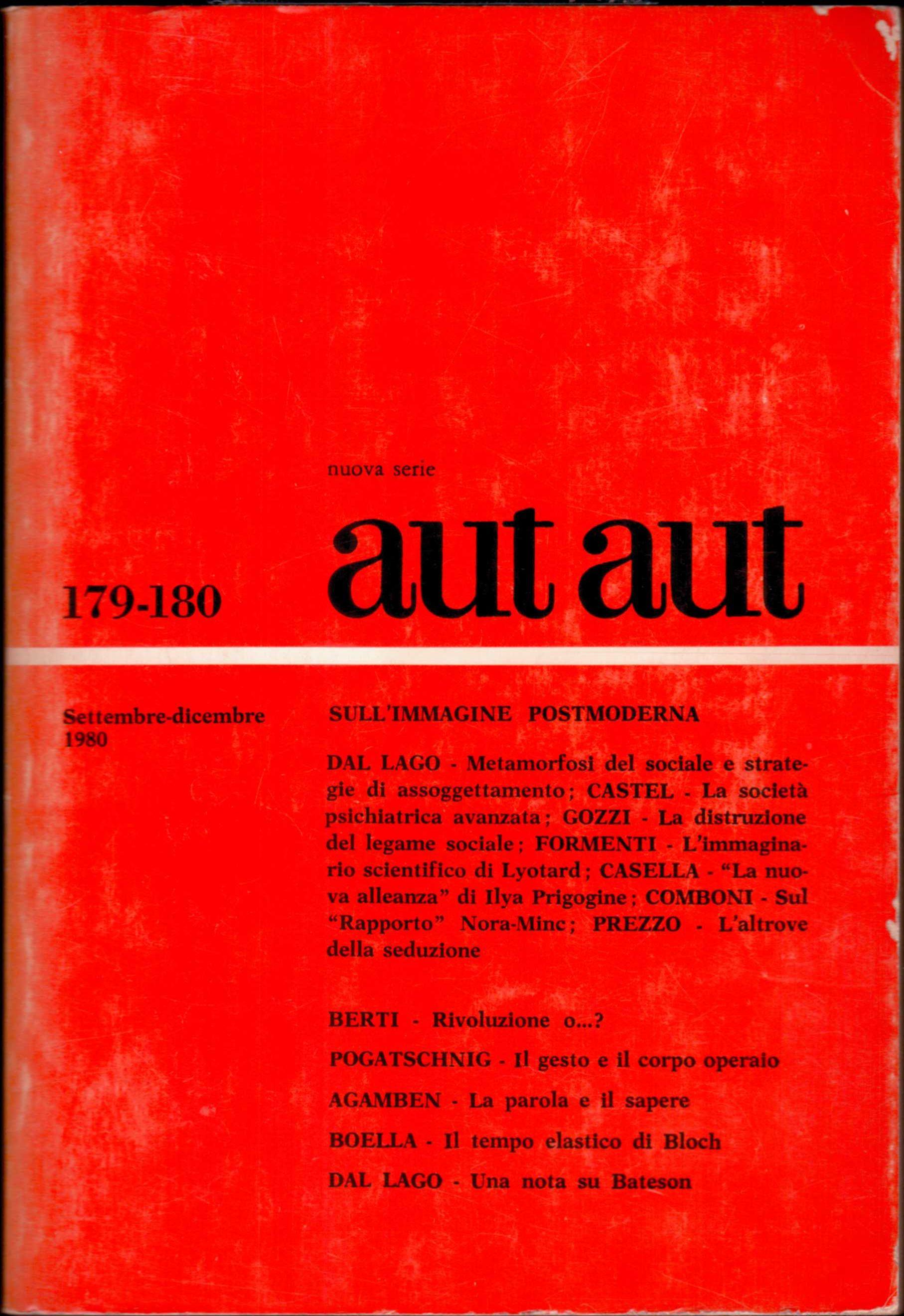 Aut aut n. 179-180 / 1980