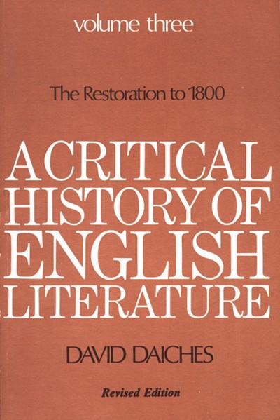 A Critical History of English Literature, Volume 3