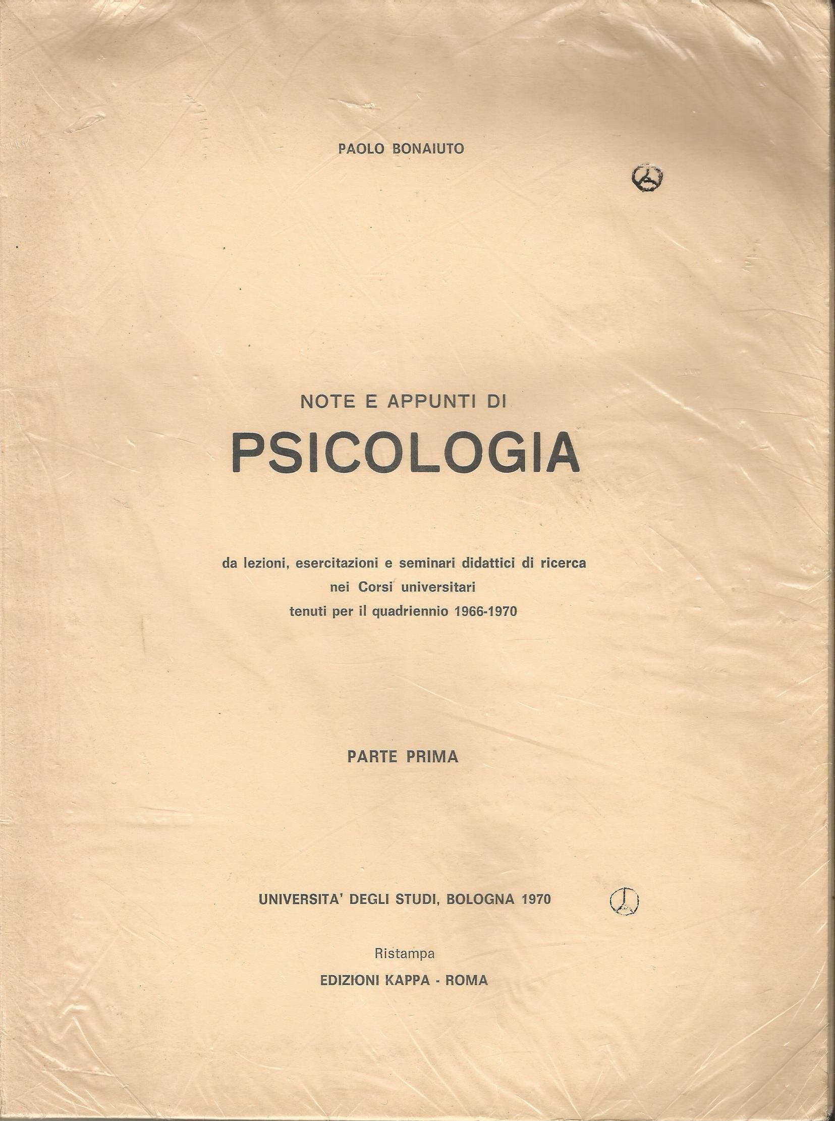 Note e appunti di psicologia, parte prima