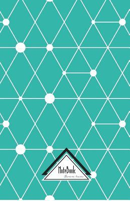 Modern Abstract Geometric Teal Blue Triangle Grid Dot Notebook