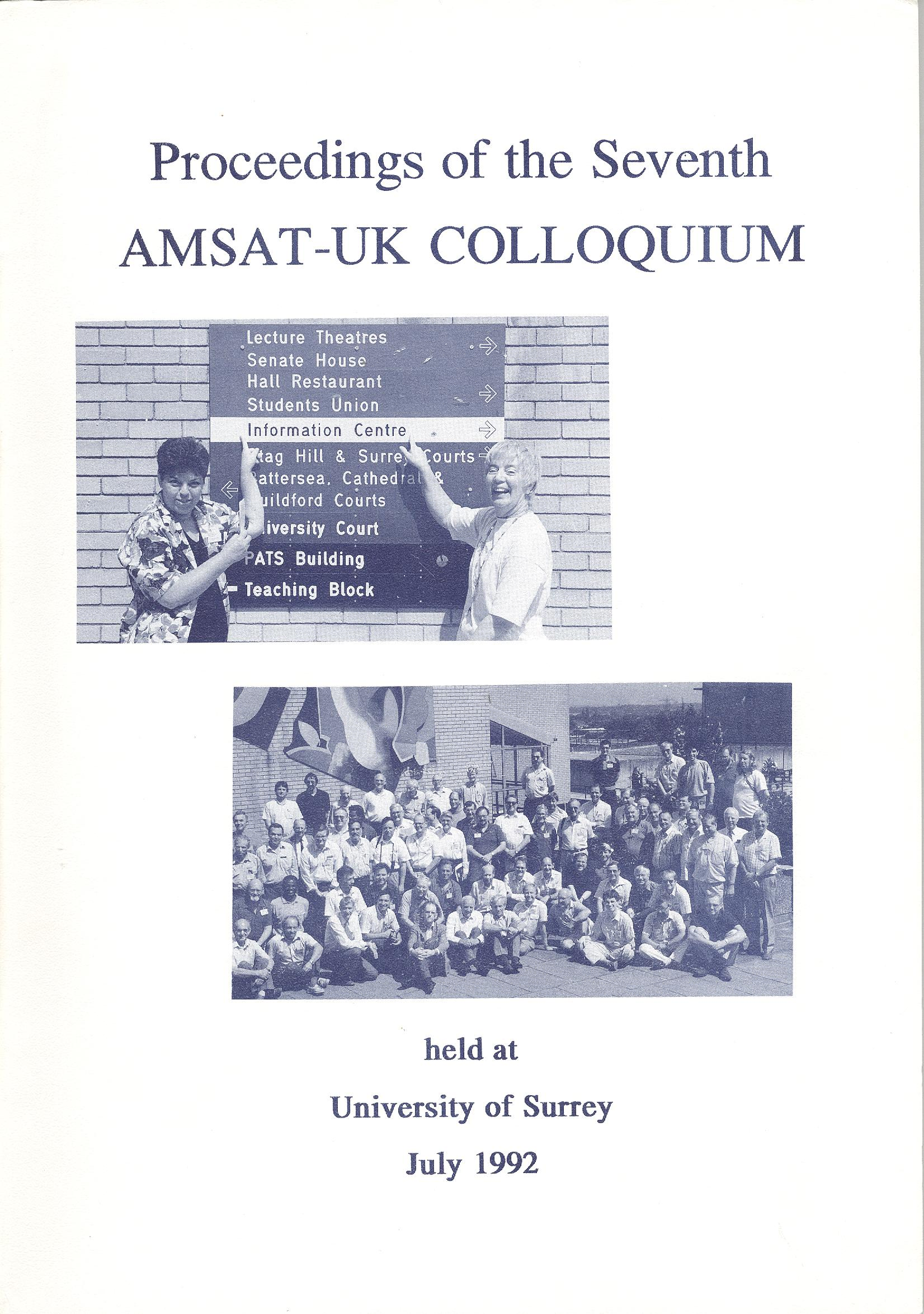 The Proceedings of the Seventh AMSAT-UK Colloquium 1992