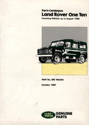 Land Rover One Ten Parts Catalogue Up to August 1986