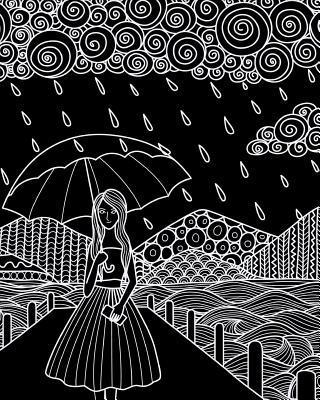 Journal Notebook Watercolor Girl In The Rain 1