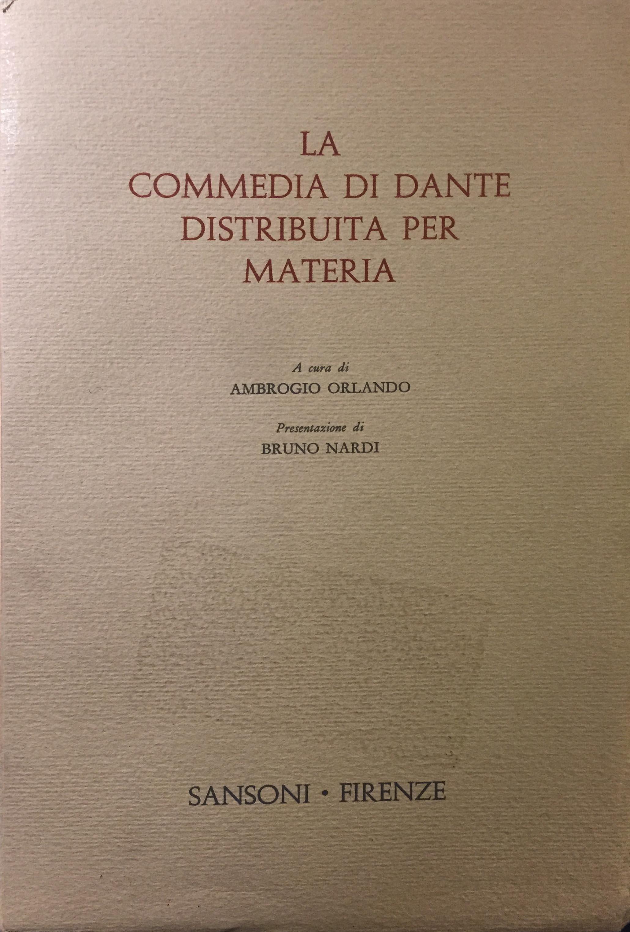 La Commedia di Dante distribuita per materia