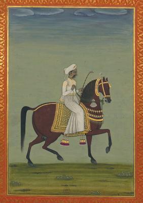 Carnet Blanc Prince Indien a Cheval, Miniature 18e