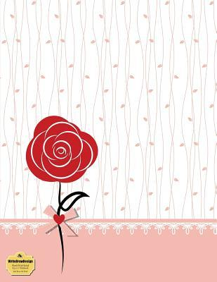 "WriteDrawDesign Blank/Wide Ruled 8.5 x 11"" Notebook, Red Rose On Pink"