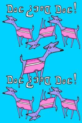 Journal Notebook For Dog Lovers, Purple Dogs in a Row 2