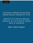 Dictionary of Medieval Latin from British Sources: Fascicule IV: F-G-H