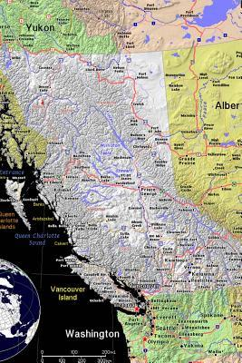 A Color Map of the Province British Columbia in Canada Journal