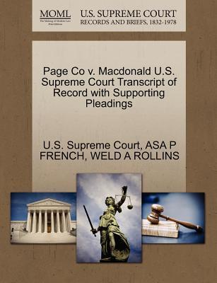 Page Co V. MacDonald U.S. Supreme Court Transcript of Record with Supporting Pleadings