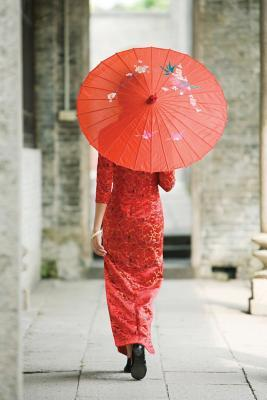 Parasol Woman in Red Notebook