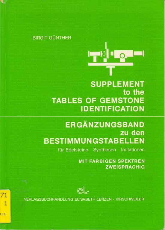 Ergänzung zu den Bestimmungstabellen für Edelsteine, Synthesen, Imitationen. Supplement to the Tables of Gemstone Identification
