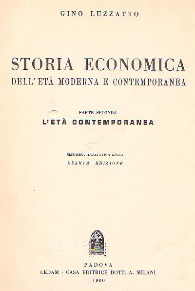 Storia economica dell'età moderna e contemporanea