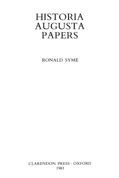 Historia Augusta Papers