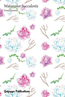 Watercolor Succulents Lined Journal - Looks Like Roses Pattern Cover