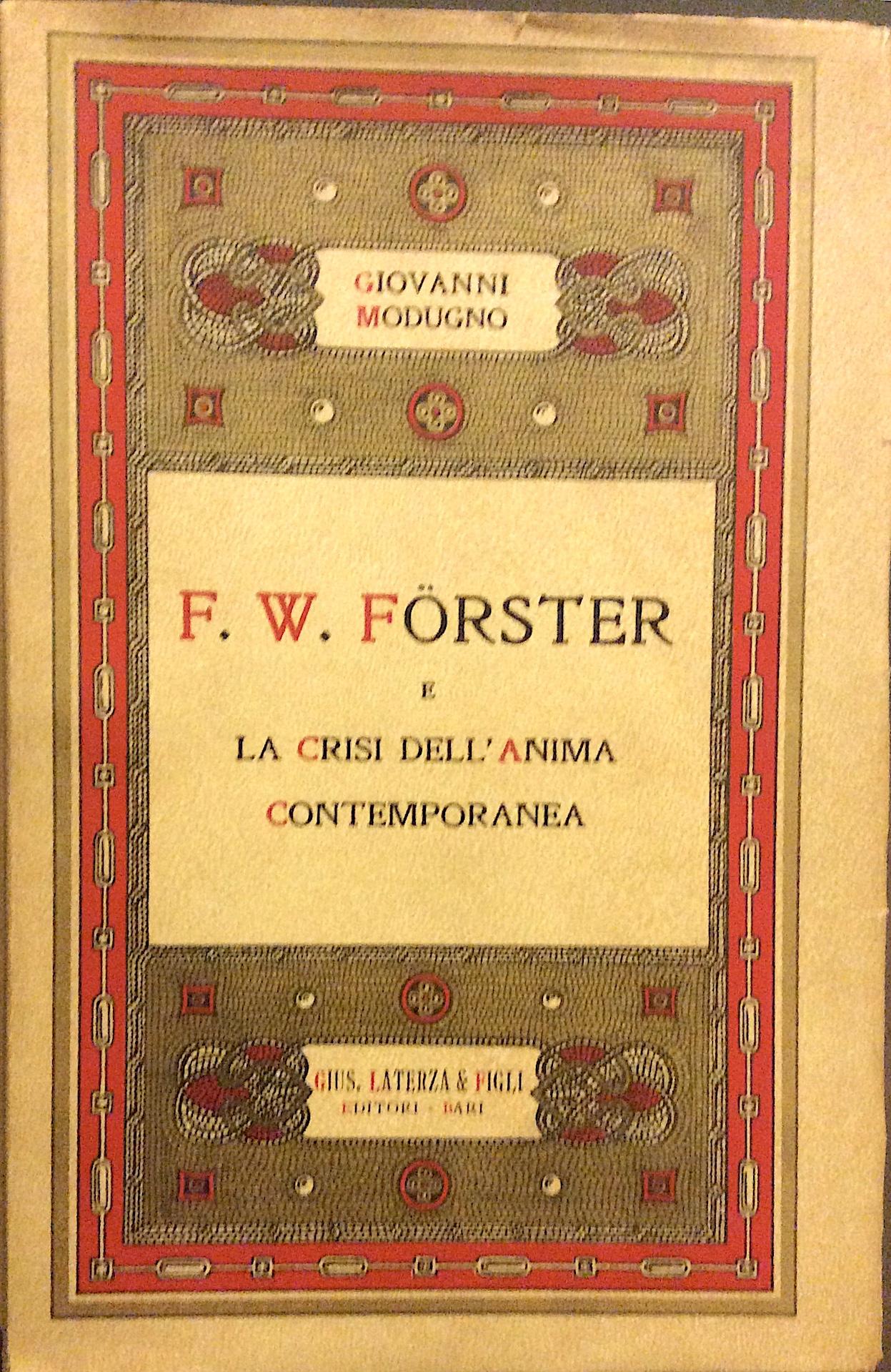 F. W. Forster e la crisi dell'anima contemporanea