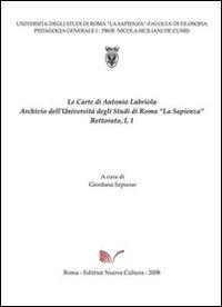 Carte di Antonio Labriola. Archivio dell'Università di Roma «la Sapienza»