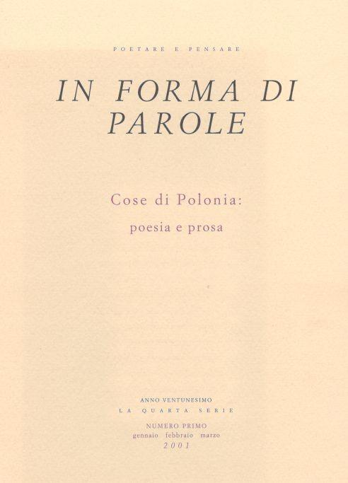Cose di Polonia: poesia e prosa
