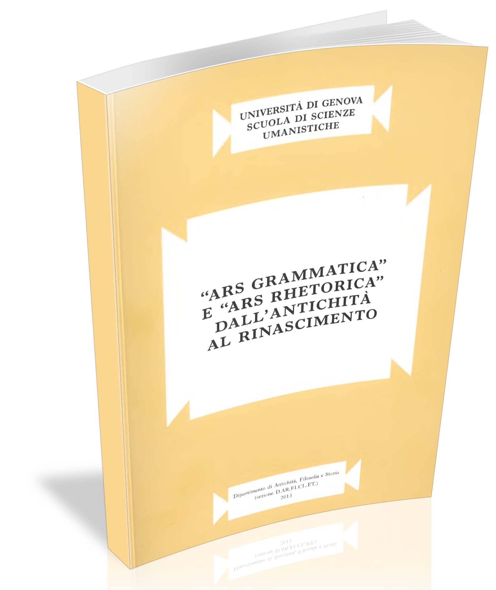 «Ars grammatica» e «Ars rhetorica» dall'antichità al Rinascimento