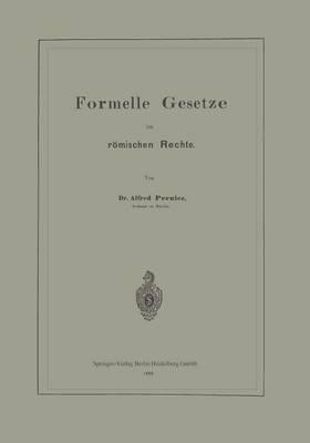 Formelle Gesetze Im Römischen Rechte