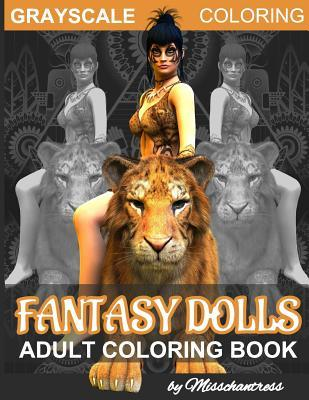 Grayscale Coloring Fantasy Dolls