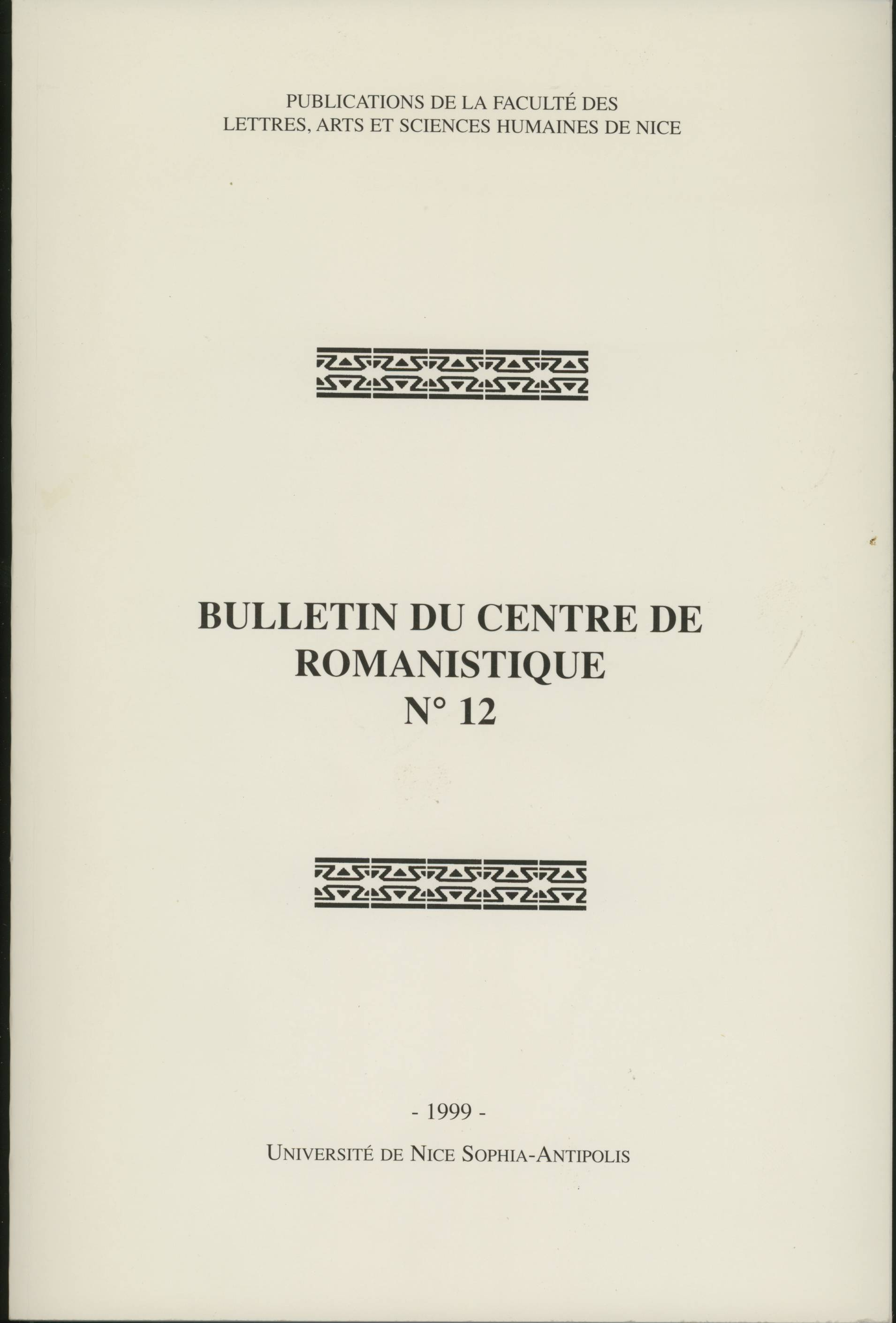 Bulletin du Centre de romanistique n. 12