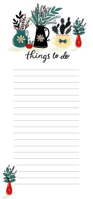 High Note Things to Do Plants Vertical List Notepad W/ Magnet Holder