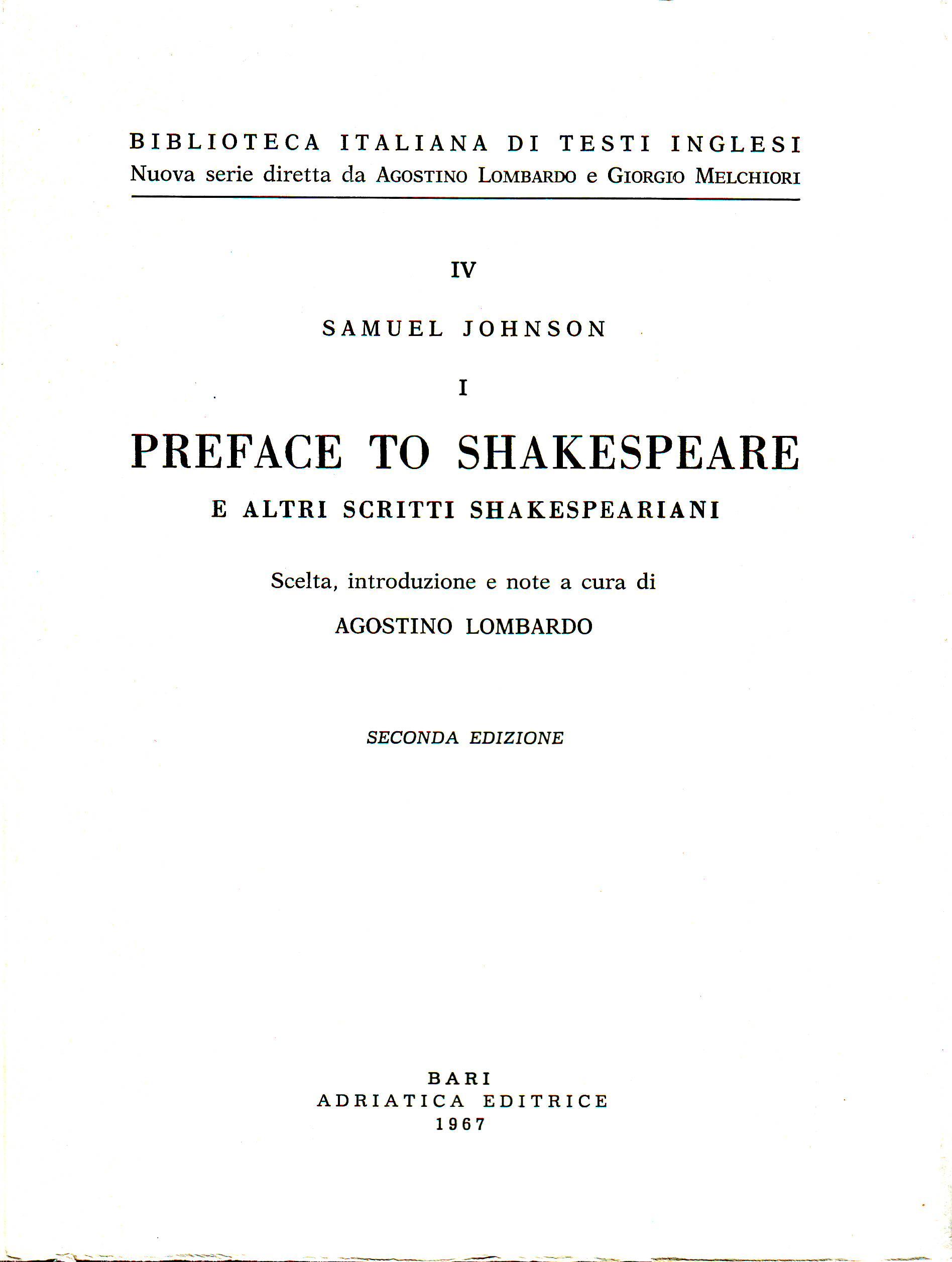 Preface to Shakespea...