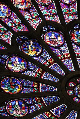 A View of the Stained Glass Window in the Notre Dame of Paris France Journal