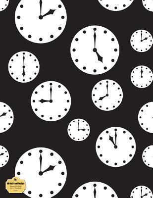 "WriteDrawDesign Blank/Wide Ruled 8.5 x 11"" Notebook, Clocks"