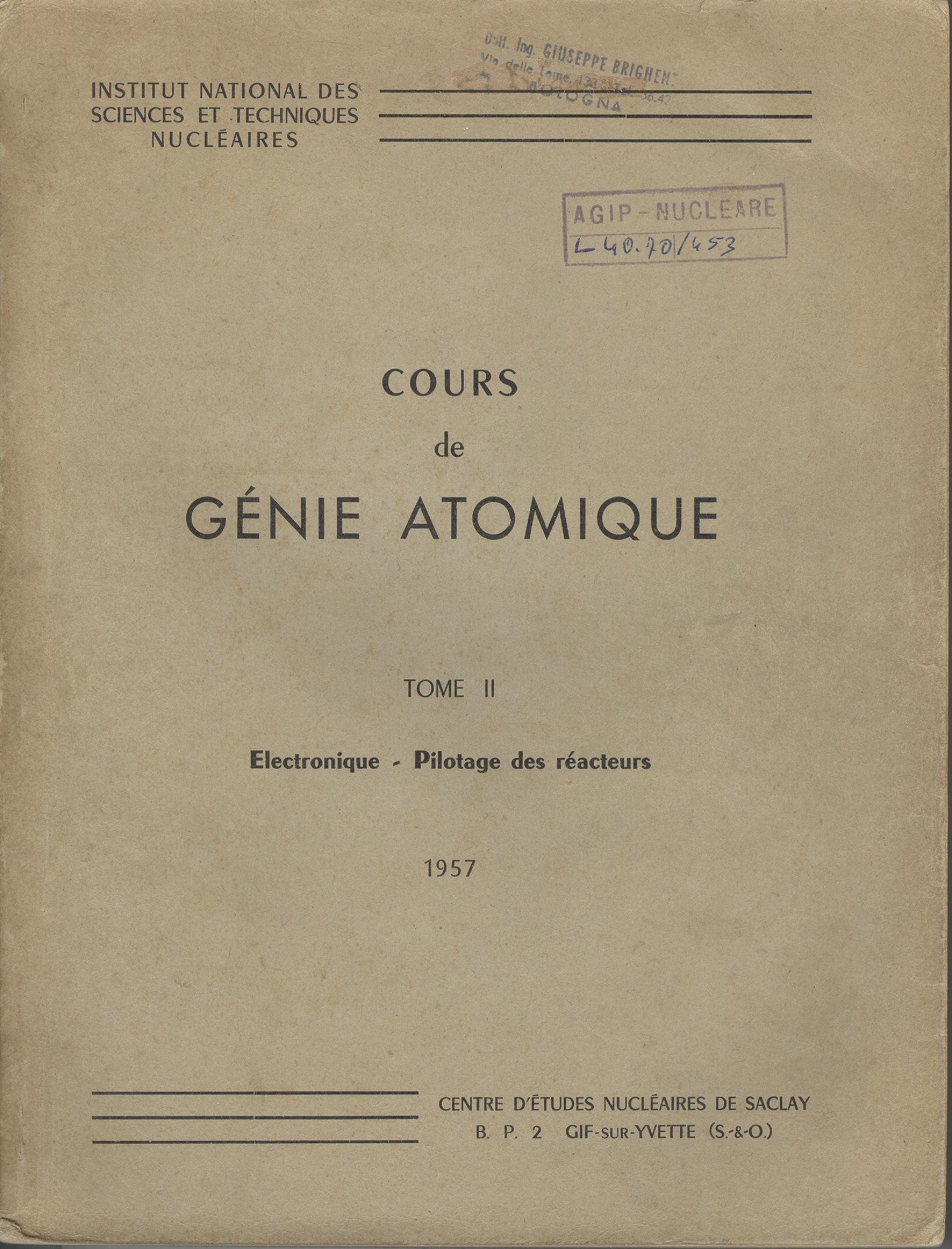Cours de Génie Atomique, Tome II