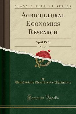 Agricultural Economics Research, Vol. 27