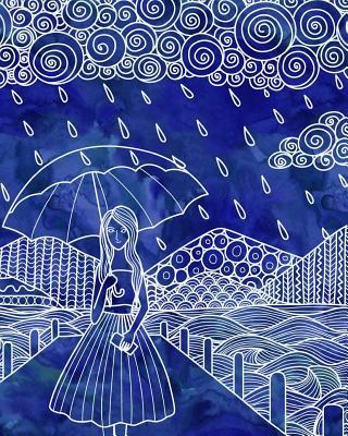 Journal Notebook Watercolor Girl In The Rain 3
