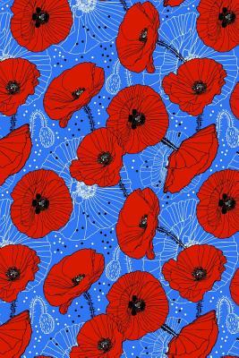 Bullet Journal Notebook Red Poppies On Blue