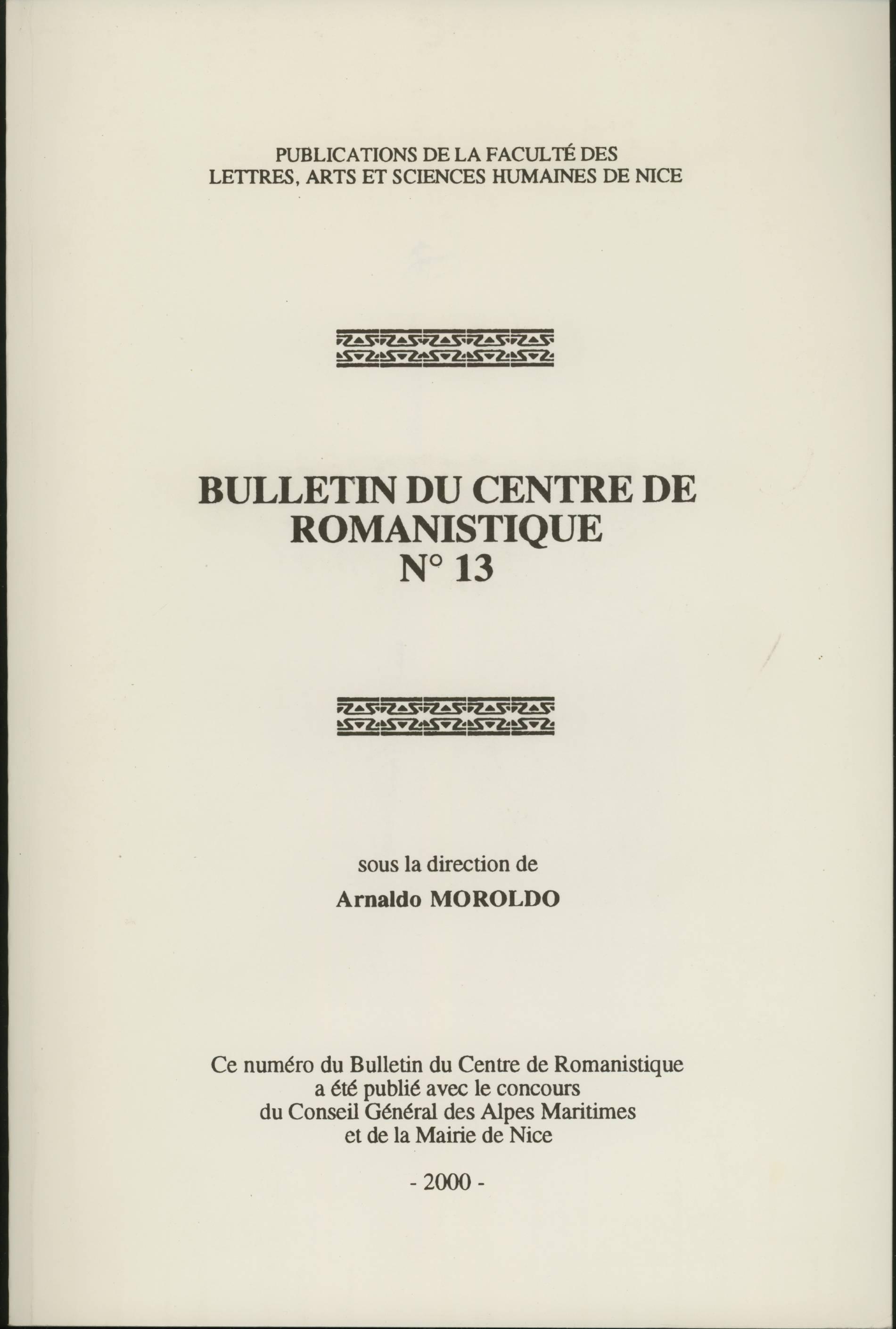 Bulletin du Centre de romanistique n. 13