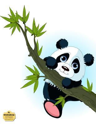 "WriteDrawDesign Blank/Wide Ruled 8.5 x 11"" Notebook, Panda Hanging On A Tree"